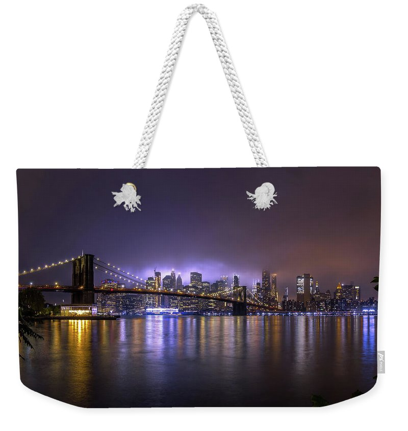 America Weekender Tote Bag featuring the photograph Bright Lights Of New York II by Nicklas Gustafsson