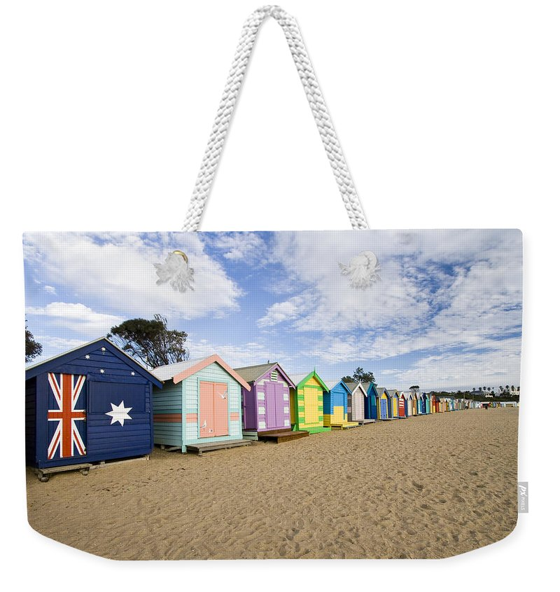 Steps Weekender Tote Bag featuring the photograph Brighton Beach Huts by Samvaltenbergs