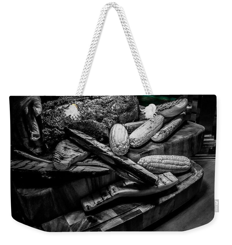 Weekender Tote Bag featuring the mixed media Briskey Bites by Darnell Ligon