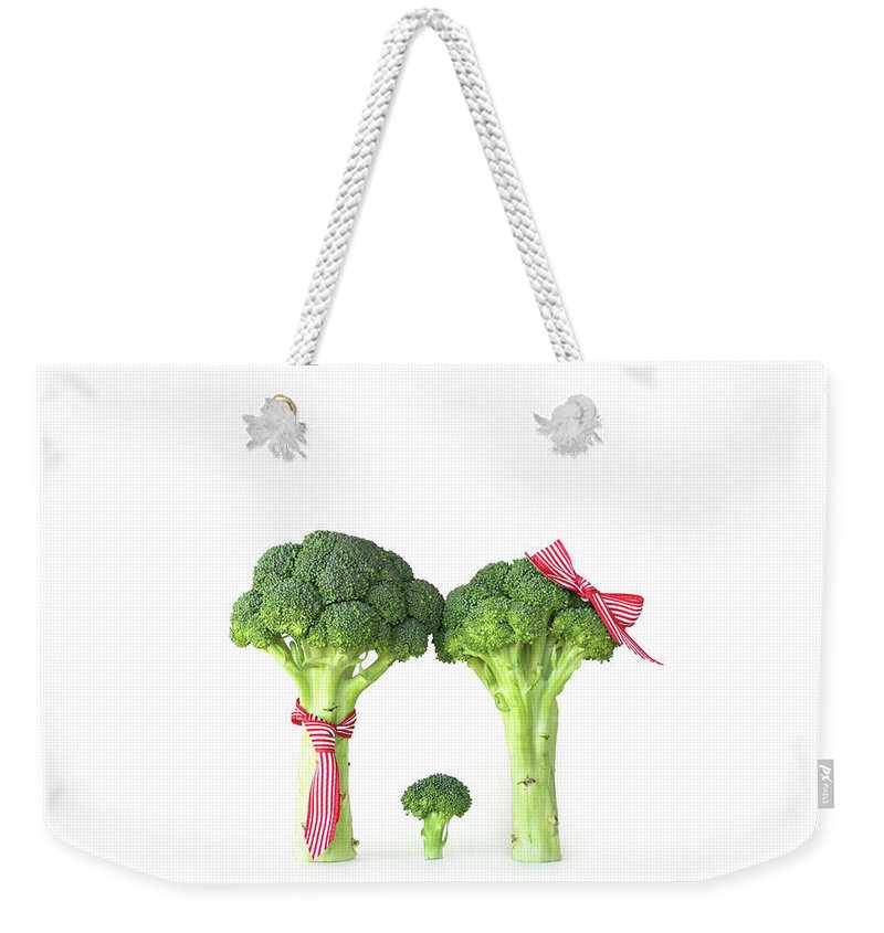 Broccoli Weekender Tote Bag featuring the photograph Broccoli Dad, Mom And Baby by Stephanie Mull Photography