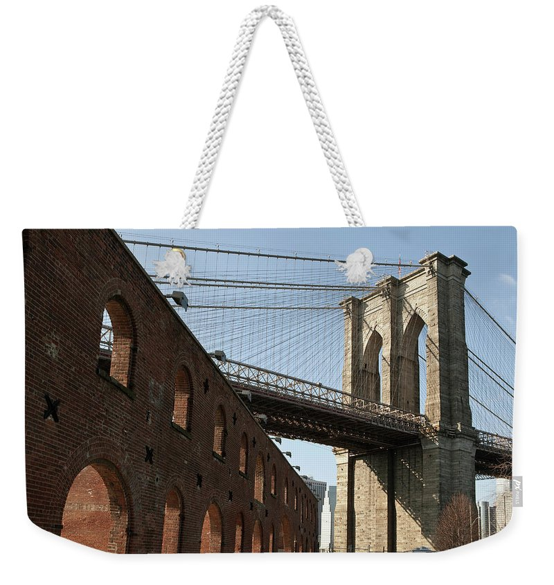 Arch Weekender Tote Bag featuring the photograph Brooklyn Bridge & Empire Fulton Ferry by Just One Film