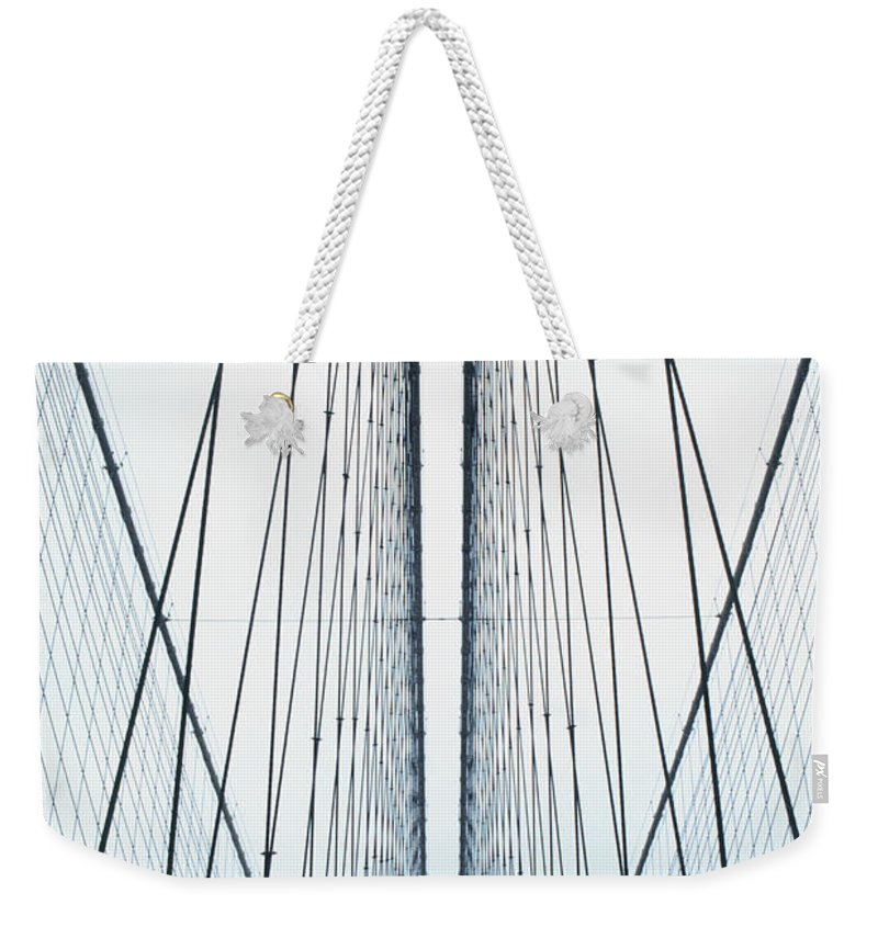 Suspension Bridge Weekender Tote Bag featuring the photograph Brooklyn Bridge by Eric O'connell