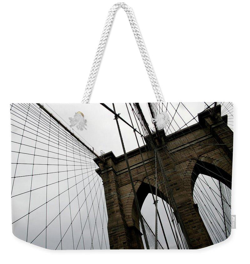 Suspension Bridge Weekender Tote Bag featuring the photograph Brooklyn Bridge by Penfold