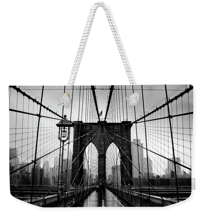 Clear Sky Weekender Tote Bag featuring the photograph Brooklyn Bridge by Serhio.com Photography By Sergei Yahchybekov