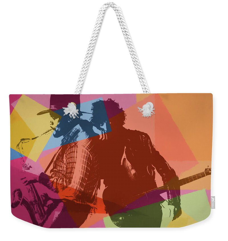 Pop Art Weekender Tote Bag featuring the painting Bruce And The Big Man Pop Art by Dan Sproul