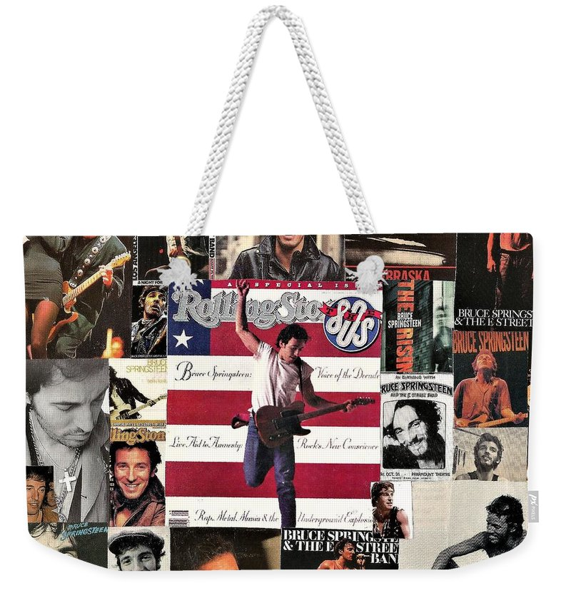 Collage Weekender Tote Bag featuring the digital art Bruce Springsteen Collage 1 by Doug Siegel