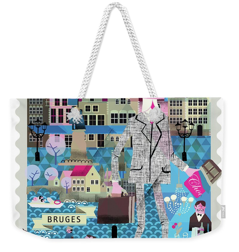 Belgium Weekender Tote Bag featuring the digital art Bruges by Luciano Lozano