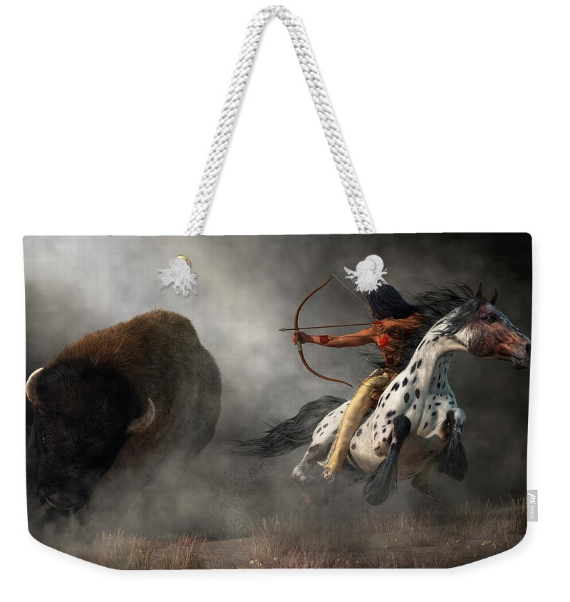 Buffalo Hunt Weekender Tote Bag featuring the digital art Buffalo Hunt by Daniel Eskridge