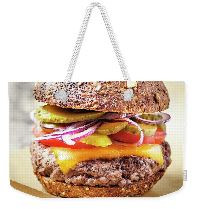 Bun Weekender Tote Bag featuring the photograph Burger by Claudia Totir