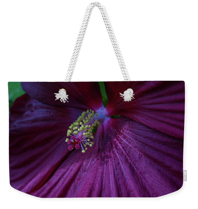 Hibiscus Weekender Tote Bag featuring the photograph Burgundy Hibiscus by Linda Howes