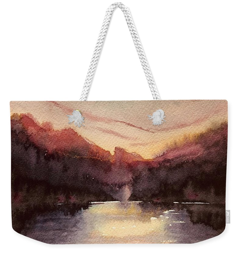 Mountains Weekender Tote Bag featuring the painting Burning Sunset by Luisa Millicent