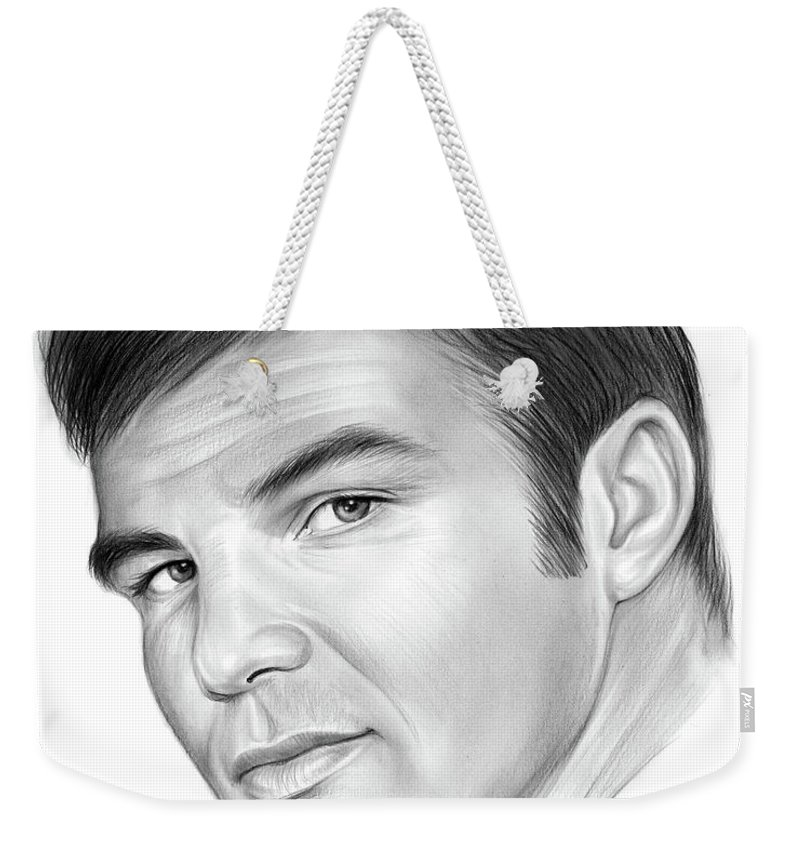 Burt Reynolds Weekender Tote Bag featuring the drawing Burt by Greg Joens
