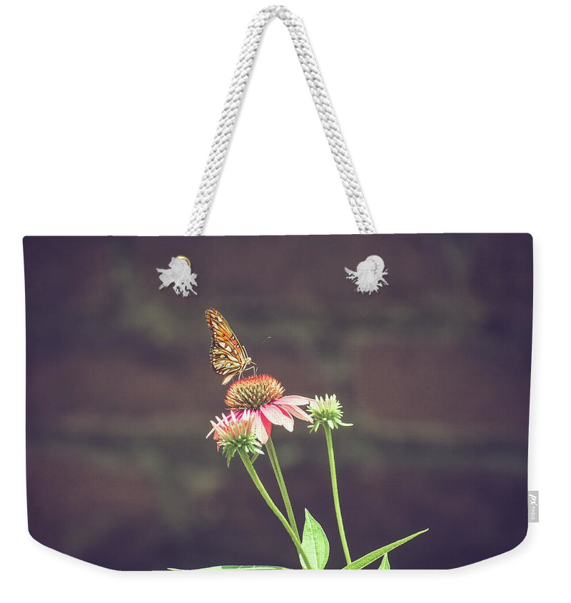Butterfly Weekender Tote Bag featuring the photograph Butterfly Feeding by Valerie Kingston