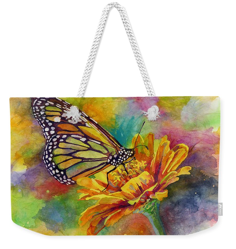 Butterfly Weekender Tote Bag featuring the painting Butterfly Kiss by Hailey E Herrera