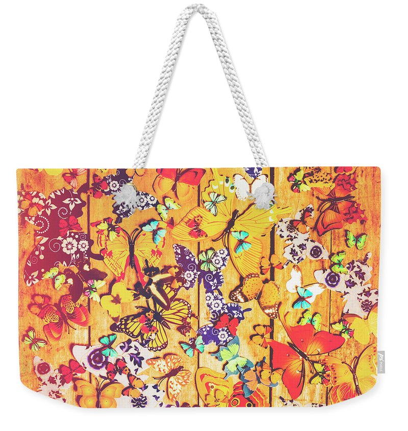Spring Weekender Tote Bag featuring the photograph Butterfly Papercraft by Jorgo Photography - Wall Art Gallery
