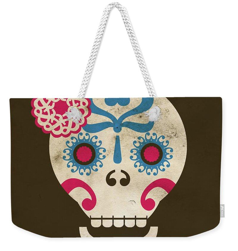 Animal Skull Weekender Tote Bag featuring the digital art Calaca by Marco Recuero