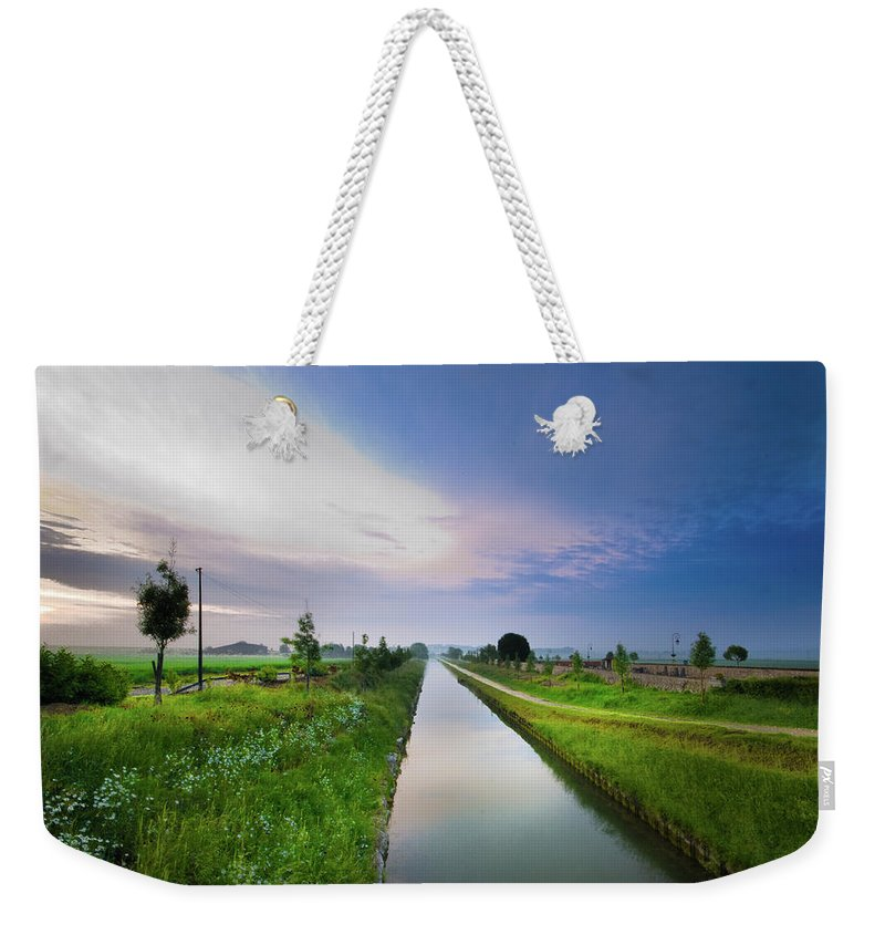Scenics Weekender Tote Bag featuring the photograph Canal De Lourcq - Precy Sur Marne - by © Nicolas Gaire