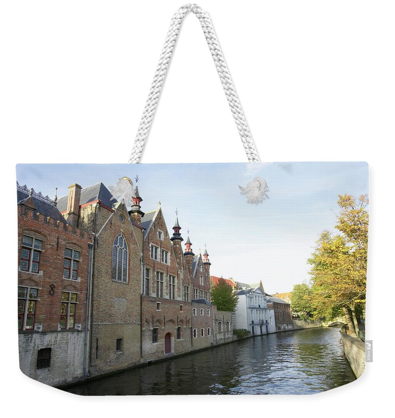 Old Town Weekender Tote Bag featuring the photograph Canal In The Old Town Of Brugge by Christof Koepsel