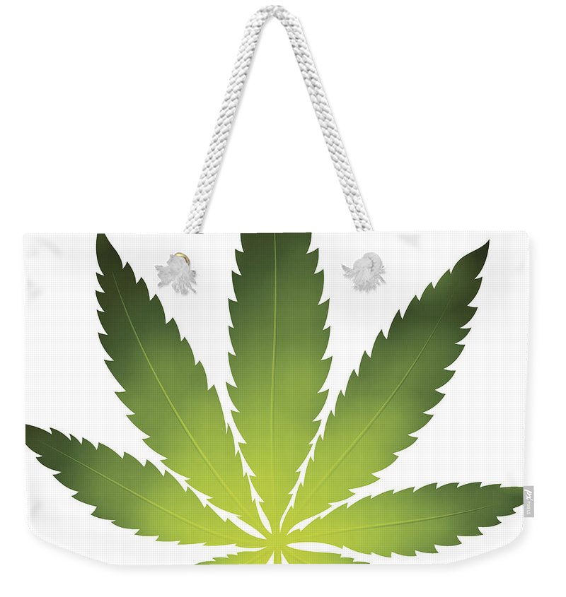 White Background Weekender Tote Bag featuring the digital art Cannabis Leaf by Filo