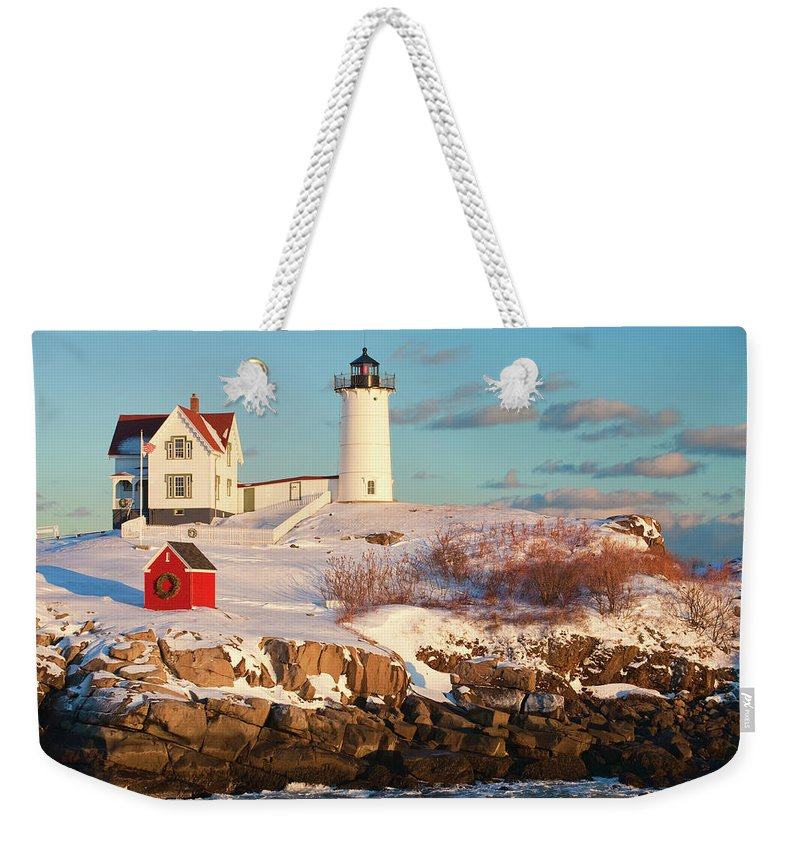 Snow Weekender Tote Bag featuring the photograph Cape Neddick Nubble Light by Kickstand