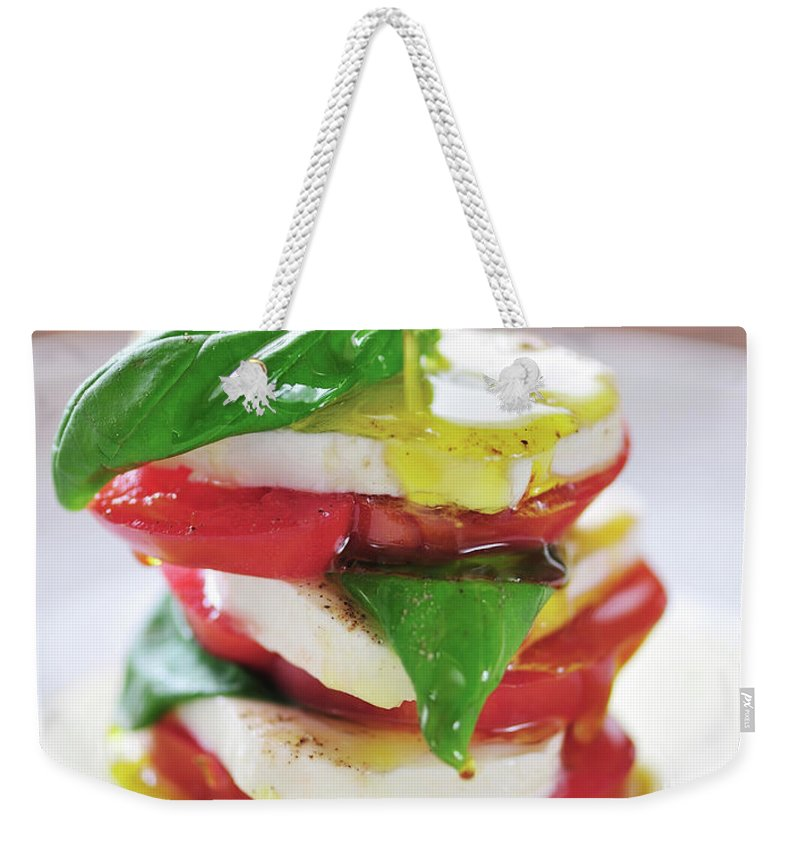 Caprese Salad Weekender Tote Bag featuring the photograph Caprese by Tanya f