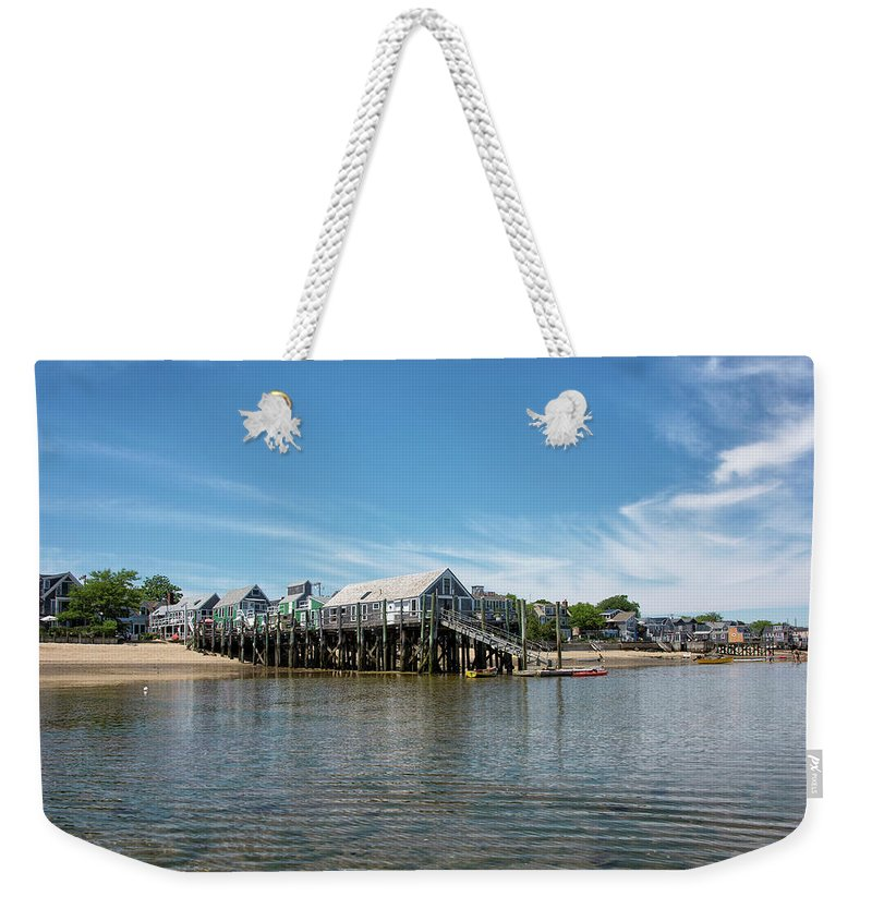 Provincetown Weekender Tote Bag featuring the photograph Captain Jack's Wharf - Provincetown Harbor - Massachusetts by Brendan Reals