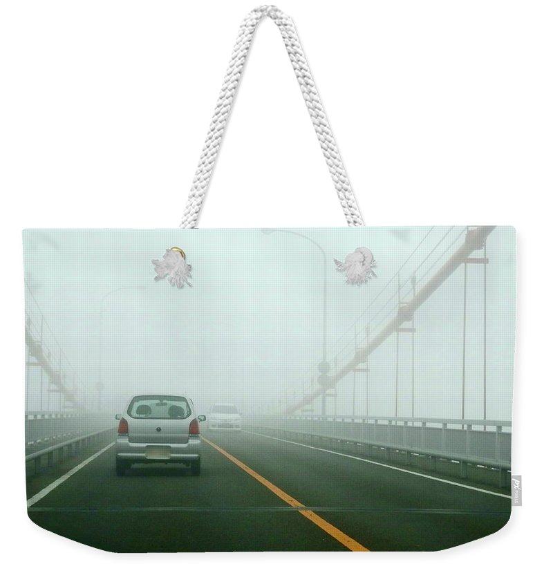 Dawn Weekender Tote Bag featuring the photograph Car Crossing Bridge by Kurosaki San