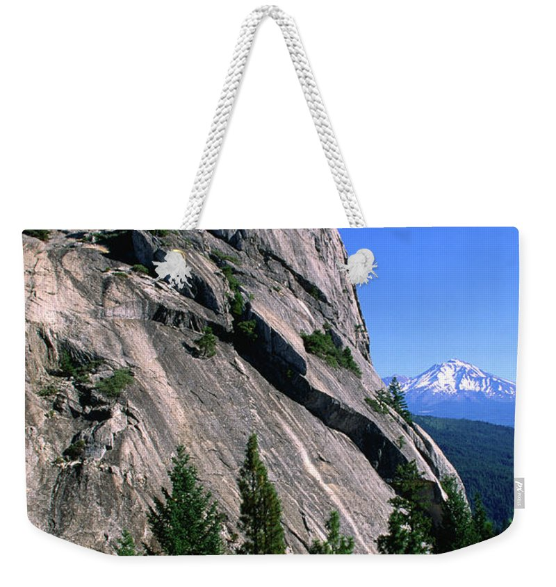Toughness Weekender Tote Bag featuring the photograph Castle Crags With Mt Shasta In by John Elk Iii