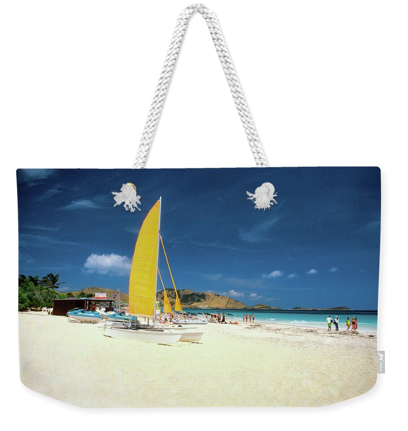 Orient Beach Weekender Tote Bag featuring the photograph Catamarans And People On Martin Orient by Medioimages/photodisc