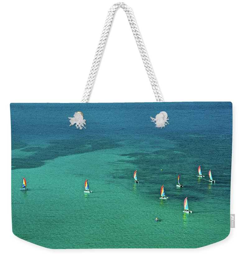 Scenics Weekender Tote Bag featuring the photograph Catamarans, Catseye Bay, Hamilton by Robin Smith