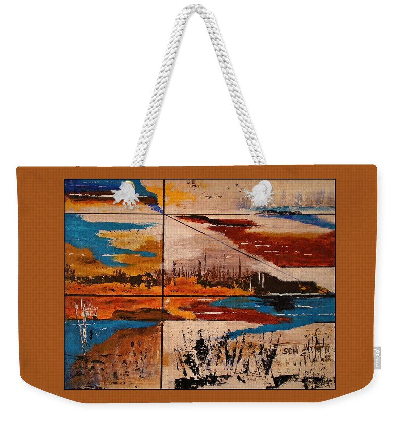 Abstract Weekender Tote Bag featuring the painting Catch A Ride To The End Of The Highway by Scott Haley