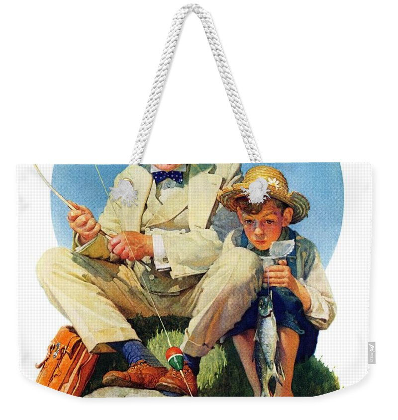 Boy Weekender Tote Bag featuring the drawing Catching The Big One by Norman Rockwell