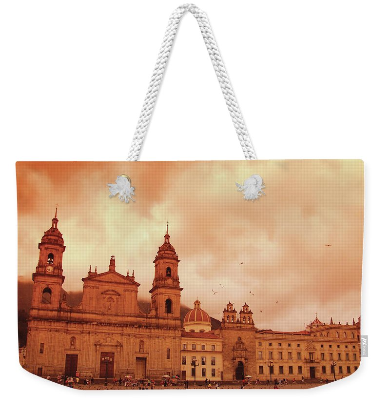 Clock Tower Weekender Tote Bag featuring the photograph Cathedral In Bogota, Colombia, South by Medioimages/photodisc