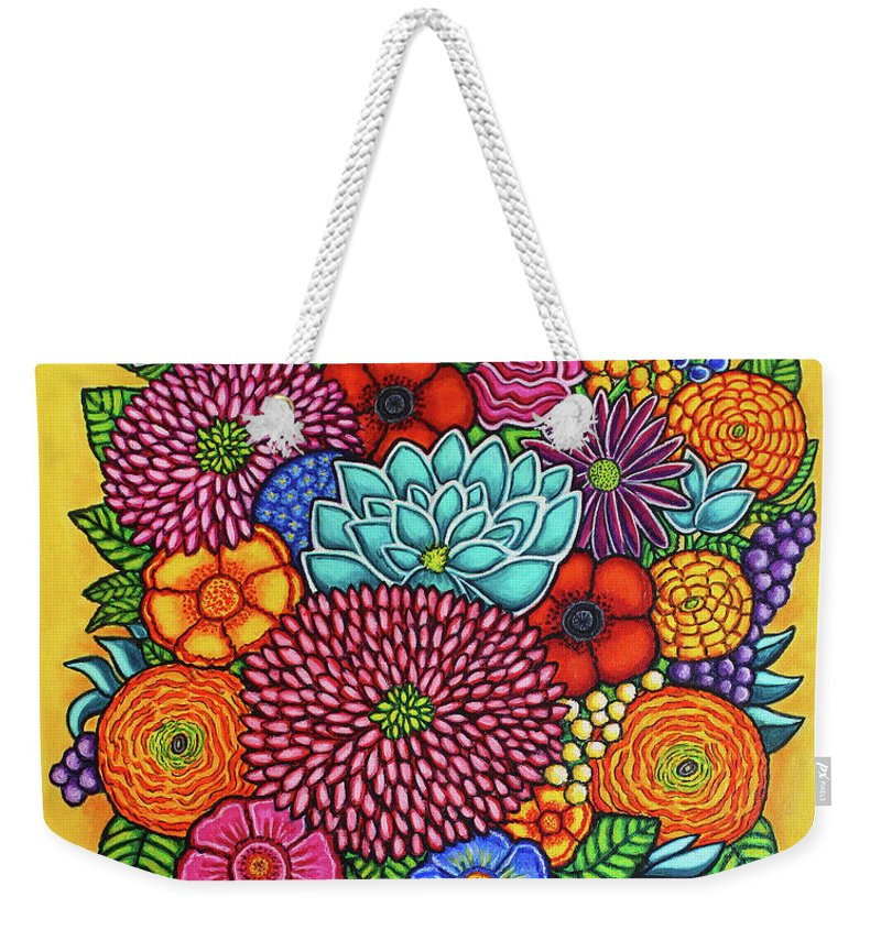 Flowers Weekender Tote Bag featuring the painting Celebration Rainbow Bouquet by Lisa Lorenz