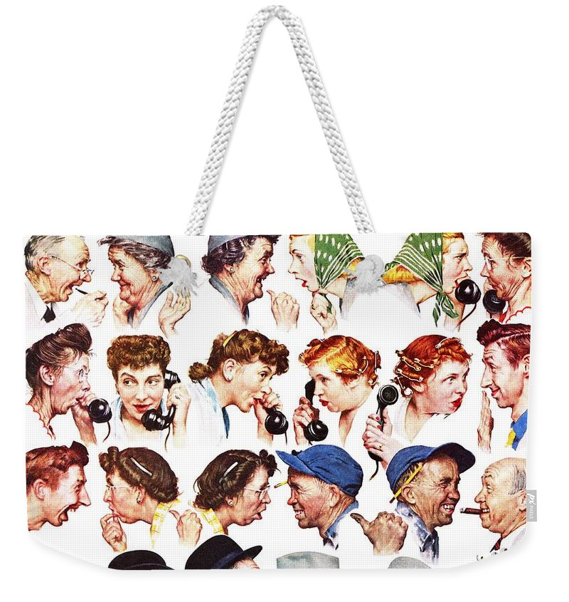 Gossiping Weekender Tote Bag featuring the drawing Chain Of Gossip by Norman Rockwell