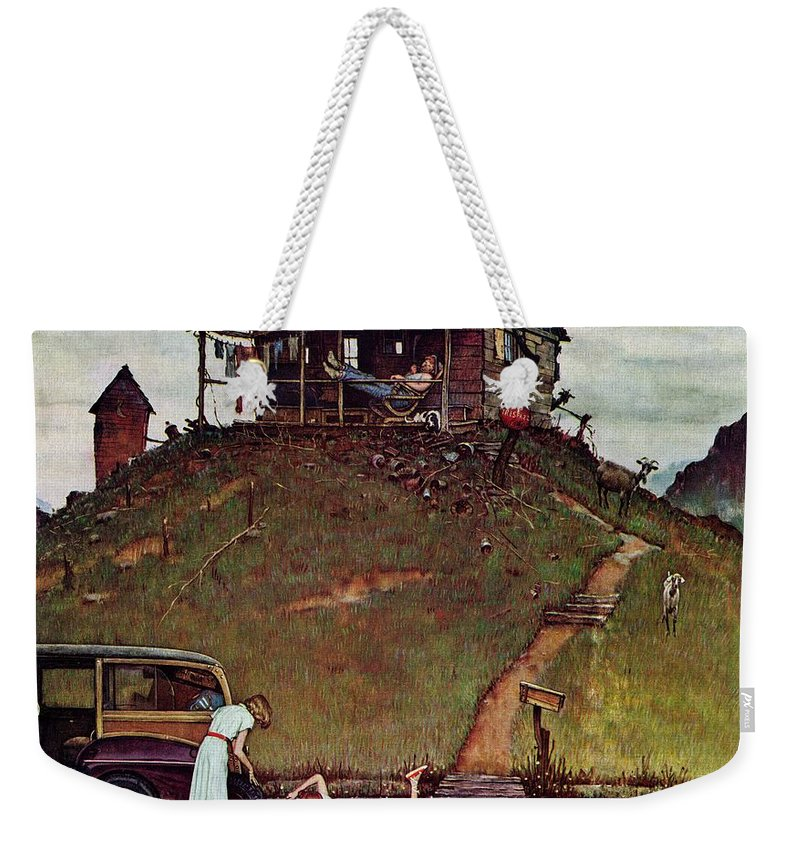 Automobiles Weekender Tote Bag featuring the drawing Changing A Flat by Norman Rockwell