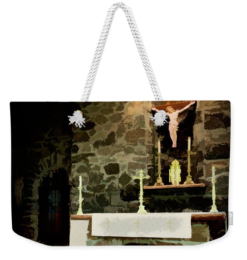 Chapel Weekender Tote Bag featuring the digital art Chapel On A Rock by Mike Braun