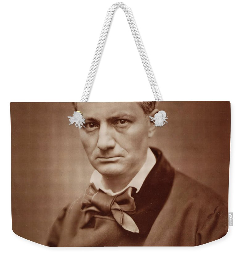 Bow Tie Weekender Tote Bag featuring the photograph Charles Baudelaire, French Poet, Portrait Photograph by Goupil