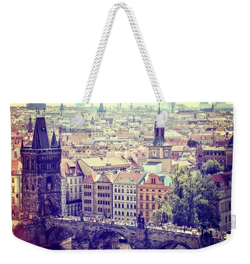 Panoramic Weekender Tote Bag featuring the photograph Charles Bridge, Prague by Pawel.gaul
