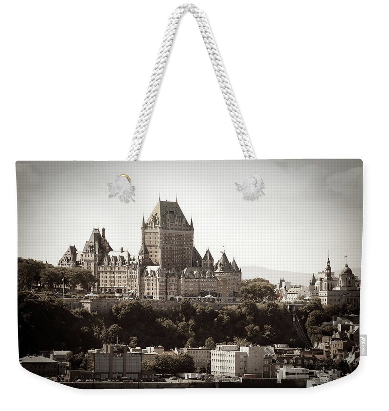 Copper Weekender Tote Bag featuring the photograph Chateau Frontenac From Levis, Quebec by Onfokus