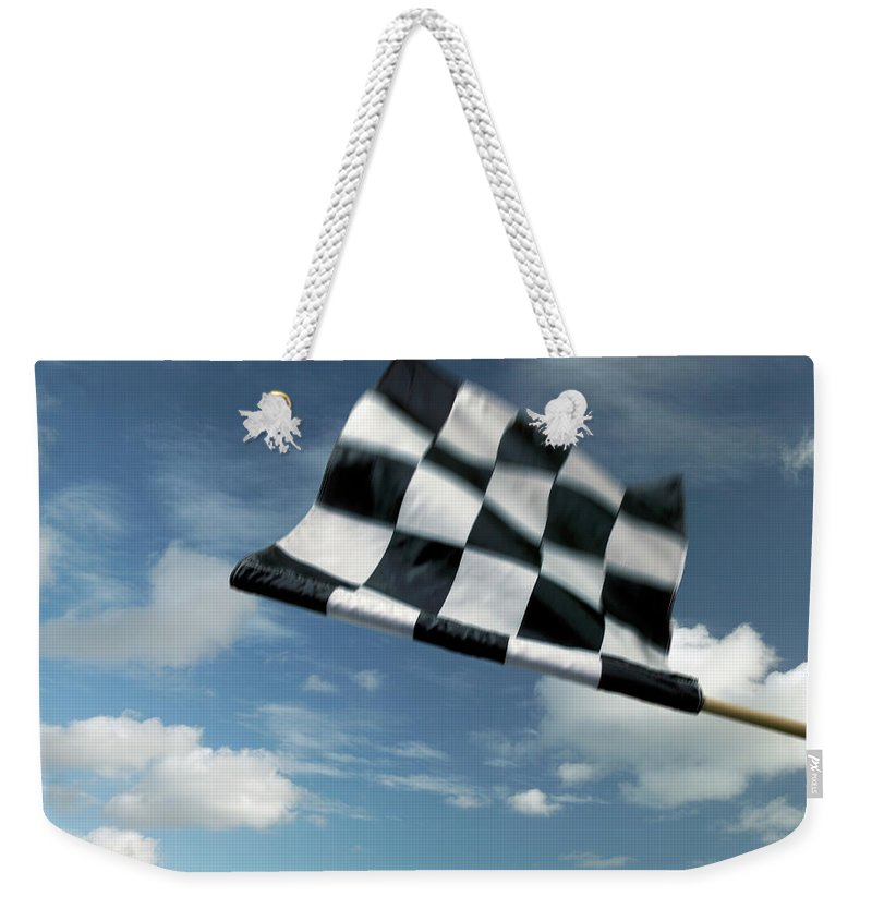 Working Weekender Tote Bag featuring the photograph Checkered Flag by James W. Porter