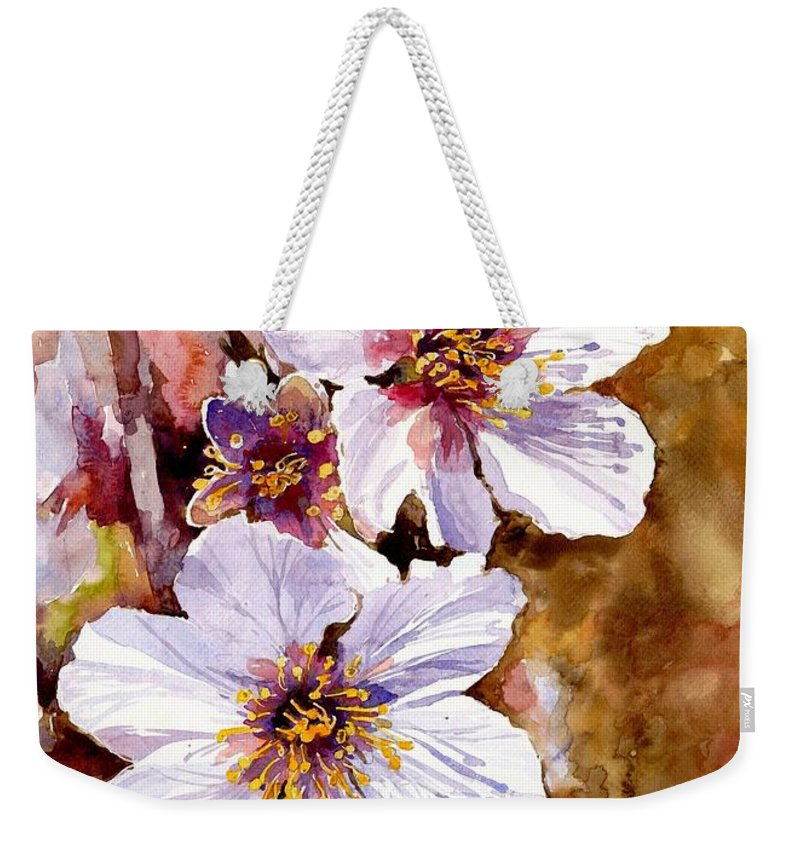 Flower Weekender Tote Bag featuring the painting Cherry Blossom by Suzann Sines