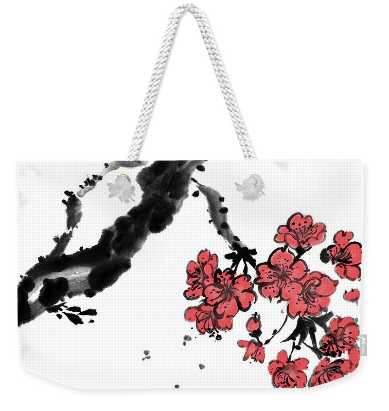 Chinese Culture Weekender Tote Bag featuring the digital art Cherry Blossoms by Vii-photo