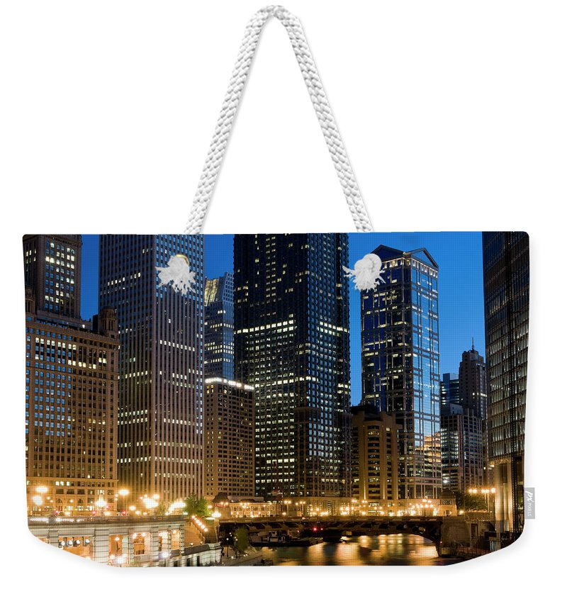 Chicago River Weekender Tote Bag featuring the photograph Chicago At Dusk by Chris Pritchard