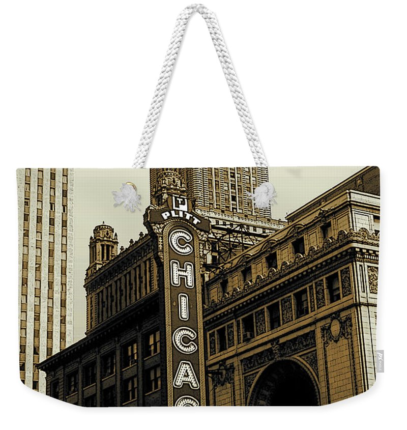 Chicago Weekender Tote Bag featuring the photograph Chicago Cinema Theater - Vintage Photo Art by Peter Potter