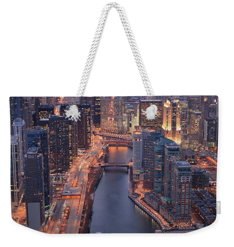 Tranquility Weekender Tote Bag featuring the photograph Chicago Downtown - Aerial View by Berthold Trenkel