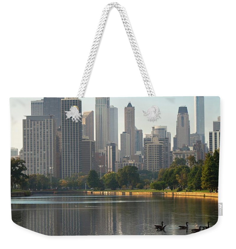 Grass Weekender Tote Bag featuring the photograph Chicago - Lincoln Park At Sunrise by Tacojim