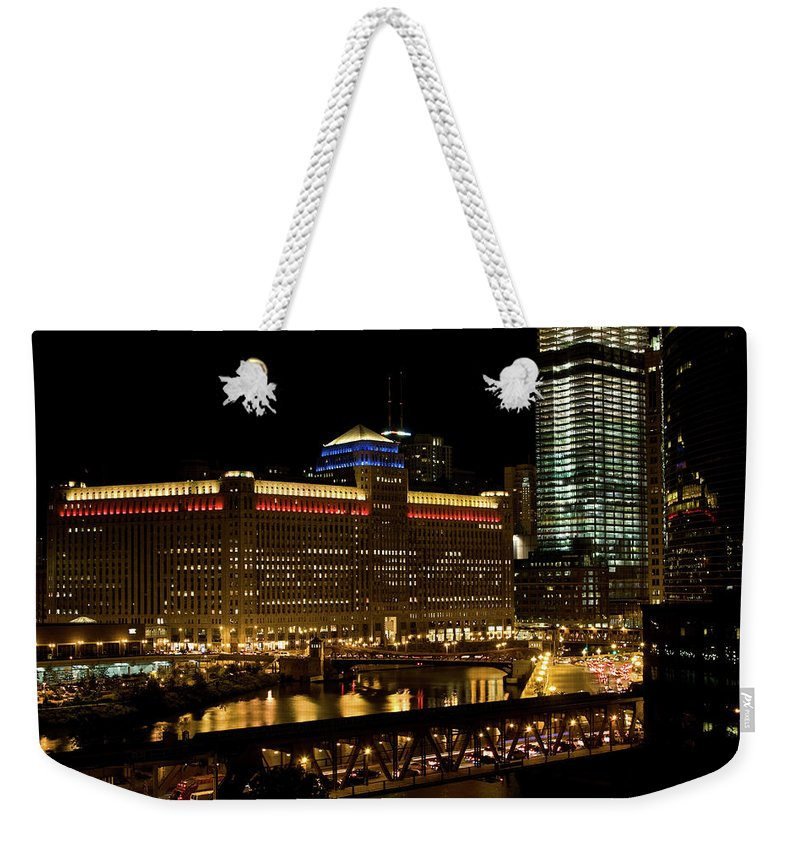 Chicago River Weekender Tote Bag featuring the photograph Chicago Merchandise Mart by Helpinghandphotos