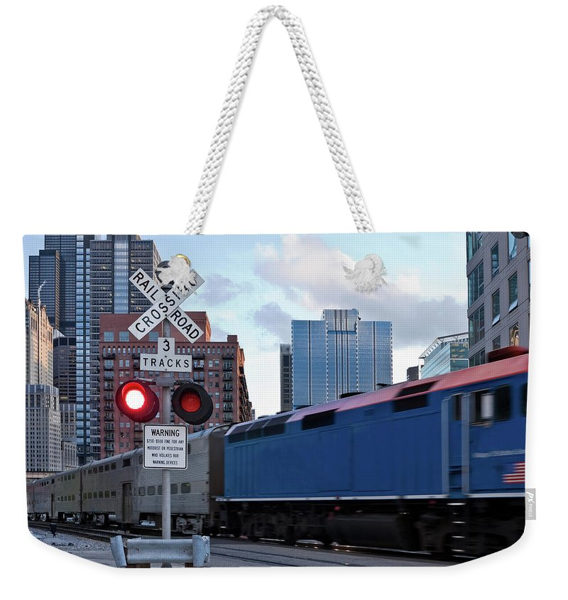 Passenger Train Weekender Tote Bag featuring the photograph Chicago Metra Train by Helpinghandphotos
