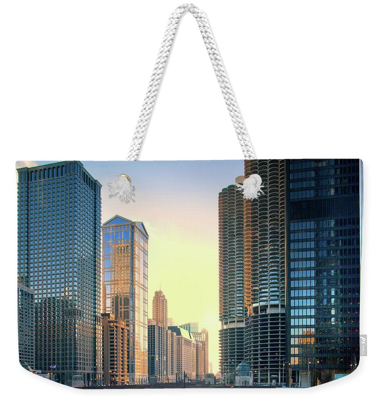 Chicago River Weekender Tote Bag featuring the photograph Chicago River by Photography By Aurimas Adomavicius